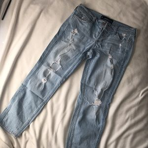 Hollister light washed ripped boyfriend jeans